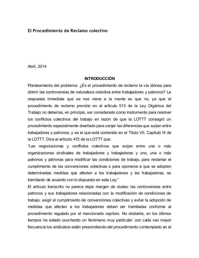 El Procedimiento de Reclamo colectivo Abril, 2014 INTRODUCCIÓN Planteamiento del problema: ¿Es el procedimiento de reclamo...