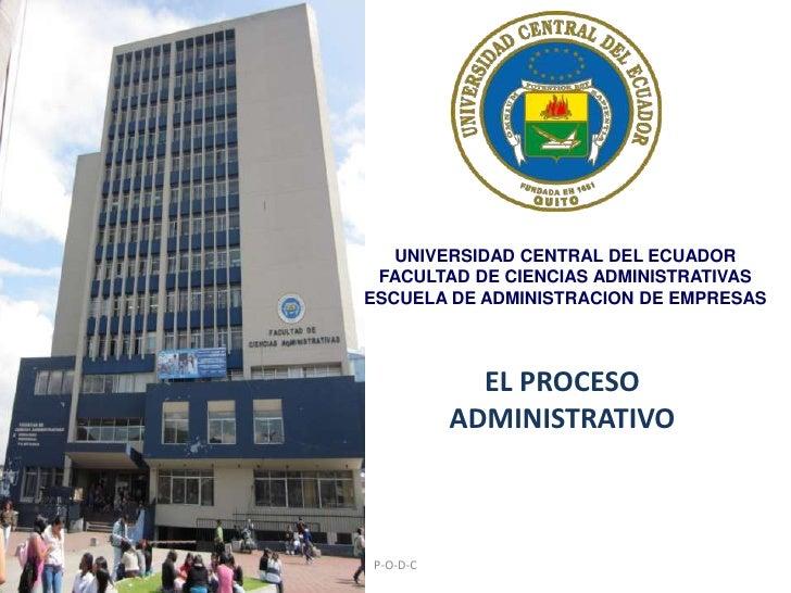 UNIVERSIDAD CENTRAL DEL ECUADORFACULTAD DE CIENCIAS ADMINISTRATIVAS ESCUELA DE ADMINISTRACION DE EMPRESAS<br />P-O-D-C<br ...