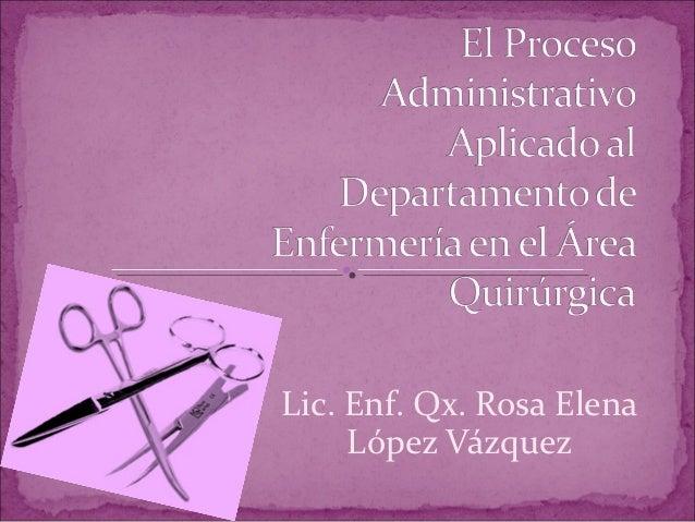 Lic. Enf. Qx. Rosa Elena     López Vázquez