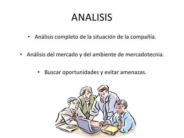 ANALISIS<br />Análisis completo de la situación de la compañía.<br />Análisis del mercado y del ambiente de mercadotecnia....