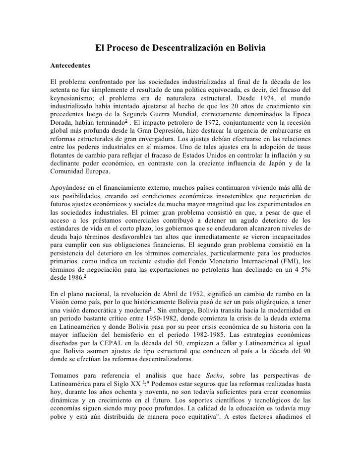 El Proceso de Descentralización en BoliviaAntecedentesEl problema confrontado por las sociedades industrializadas al final...