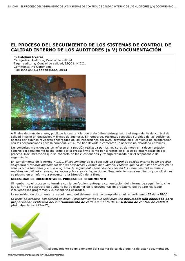 El proceso de seguimiento de control de calidad auditores ( y v) documentacion