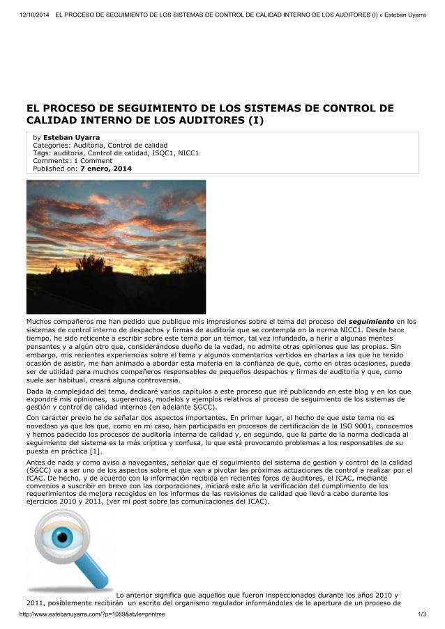 El proceso de seguimiento del control de calidad en firmas de aiuditoria (i)