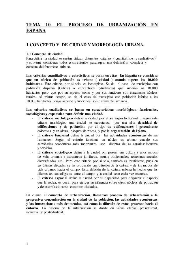 1 TEMA 10. EL PROCESO DE URBANIZACIÓN EN ESPAÑA 1.CONCEPTO Y DE CIUDAD Y MORFOLOGÍA URBANA. 1.1 Concepto de ciudad Para de...