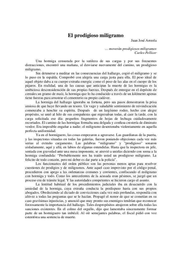El prodigioso miligramo.                                                                          Juan José Arreola       ...