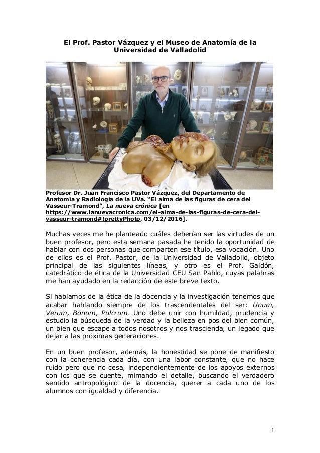 El Prof. Pastor y el Museo de Anatomía de Valladolid