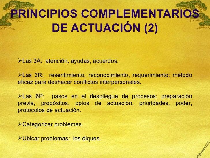 PRINCIPIOS COMPLEMENTARIOS DE ACTUACIÓN (2) <ul><li>Las 3A:  atención, ayudas, acuerdos. </li></ul><ul><li>Las 3R:  resent...