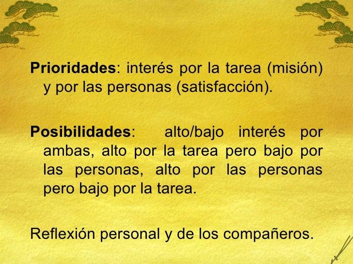 <ul><li>Prioridades : interés por la tarea (misión) y por las personas (satisfacción). </li></ul><ul><li>Posibilidades :  ...