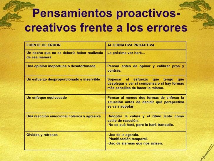 Pensamientos proactivos-creativos frente a los errores FUENTE DE ERROR ALTERNATIVA PROACTIVA Un hecho que no se debería ha...