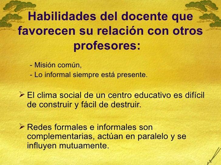 Habilidades del docente que favorecen su relación con otros profesores:   <ul><ul><li>- Misión común,  </li></ul></ul><ul>...