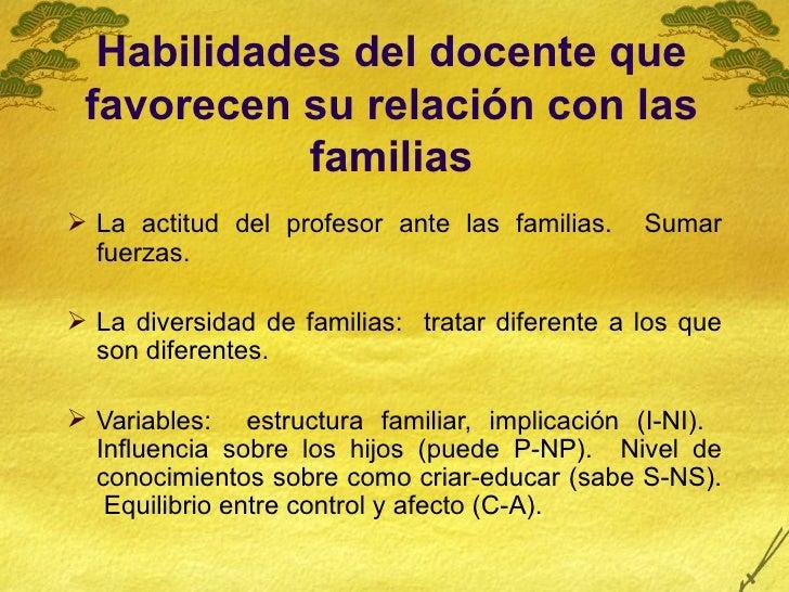 Habilidades del docente que favorecen su relación con las familias <ul><li>La actitud del profesor ante las familias.  Sum...