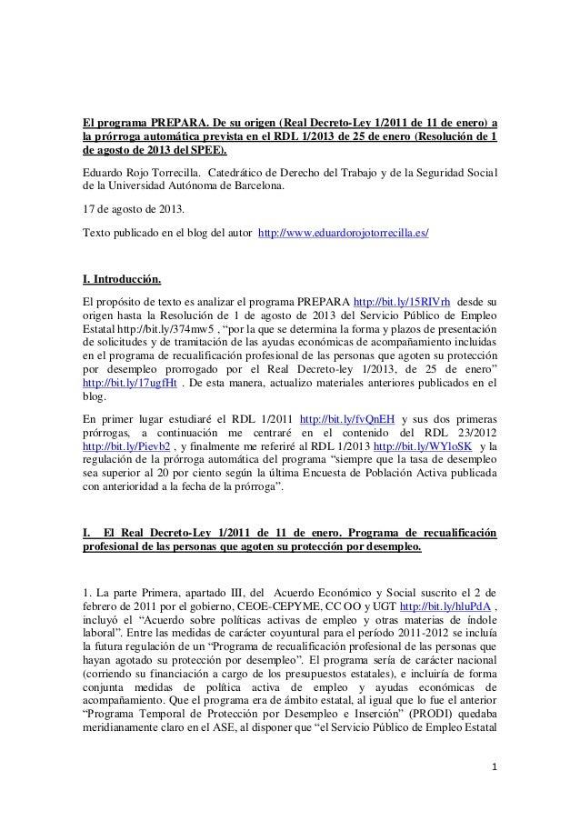 1 El programa PREPARA. De su origen (Real Decreto-Ley 1/2011 de 11 de enero) a la prórroga automática prevista en el RDL 1...