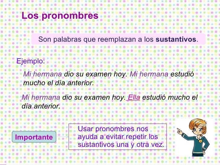 Los pronombres Importante Son palabras que reemplazan a los  sustantivos . Ejemplo: Mi hermana  dio su examen hoy.  Mi her...