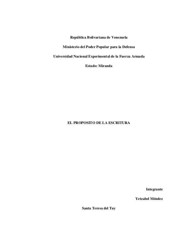 República Bolivariana de Venezuela     Ministerio del Poder Popular para la DefensaUniversidad Nacional Experimental de la...
