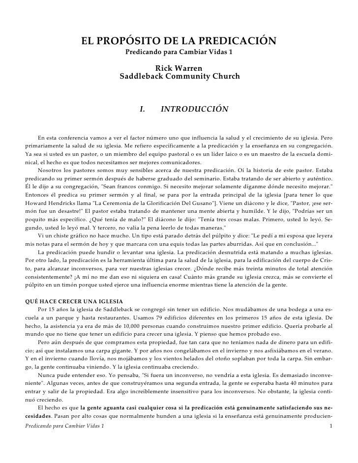 EL PROPÓSITO DE LA PREDICACIÓN                                         Predicando para Cambiar Vidas 1                    ...