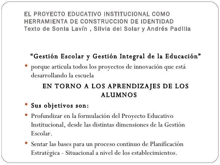 El Proyecto Educativo Institucional Como Herramienta De