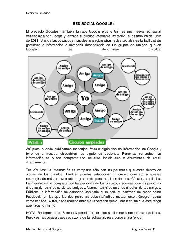 Desisem-Ecuador Manual Red social Google+ Augusto Bernal P. RED SOCIAL GOOGLE+ El proyecto Google+ (también llamado Google...