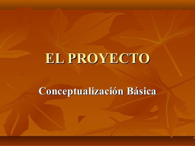 EL PROYECTOConceptualización Básica