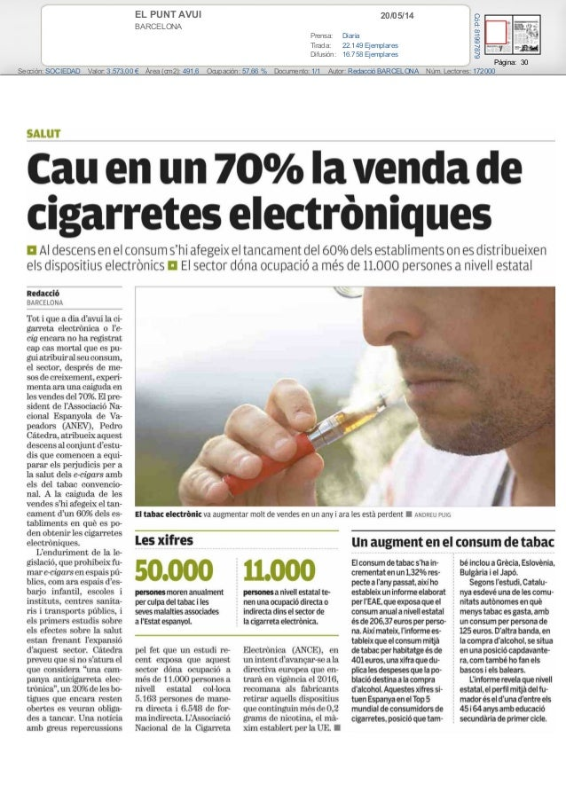 20/05/14EL PUNT AVUI BARCELONA Prensa: Diaria Tirada: 22.149 Ejemplares Difusión: 16.758 Ejemplares Página: 30 Sección: SO...
