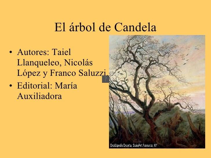 El árbol de Candela • Autores: Taiel   Llanqueleo, Nicolás   López y Franco Saluzzi. • Editorial: María   Auxiliadora