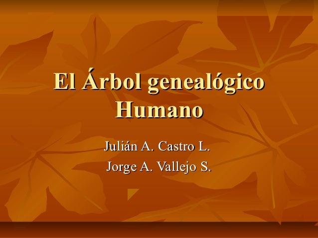 El Árbol genealógico     Humano    Julián A. Castro L.    Jorge A. Vallejo S.