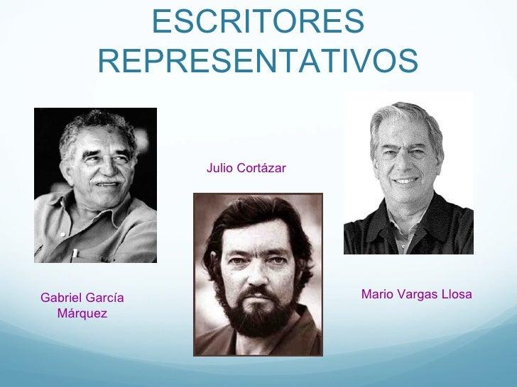 ESCRITORES         REPRESENTATIVOS                 Julio CortázarGabriel García                    Mario Vargas Llosa  Már...