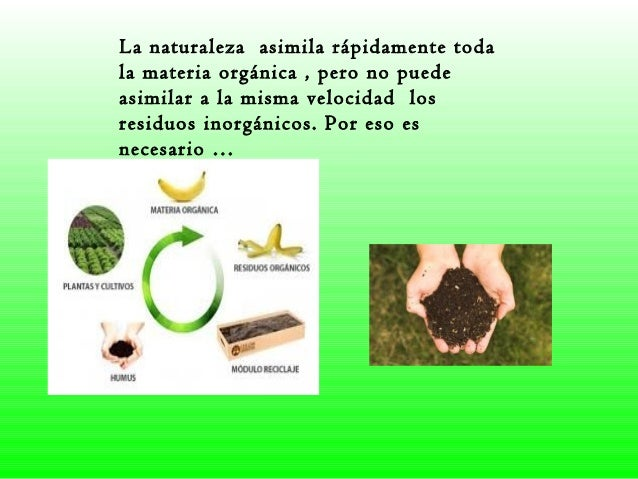 La naturaleza asimila rápidamente toda la materia orgánica , pero no puede asimilar a la misma velocidad los residuos inor...
