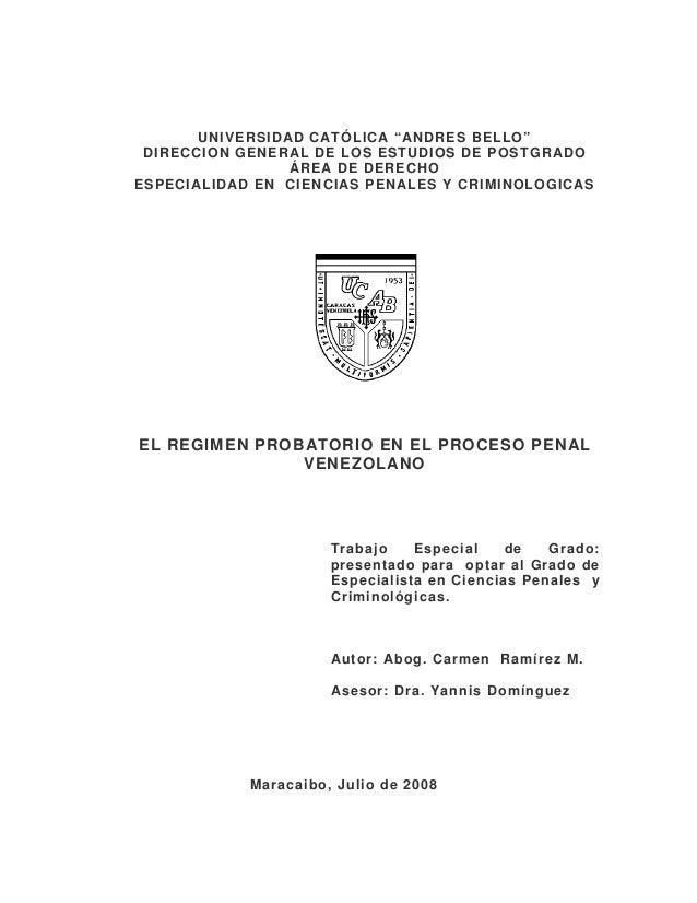"""UNIVERSIDAD CATÓLICA """"ANDRES BELLO"""" DIRECCION GENERAL DE LOS ESTUDIOS DE POSTGRADO ÁREA DE DERECHO ESPECIALIDAD EN CIENCIA..."""
