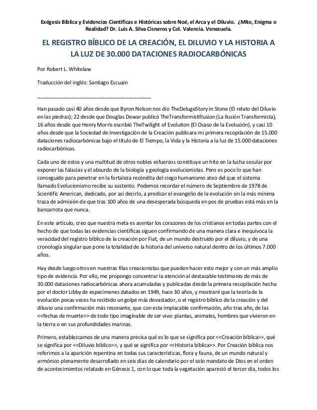 Registro Biblico De La Creacion  El Diluvio Y La Historia