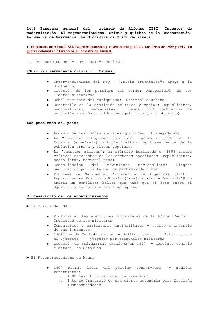 14.1 Panorama general del       reinado de Alfonso XIII. Intentos de modernización. El regeneracionismo. Crisis y quiebra ...