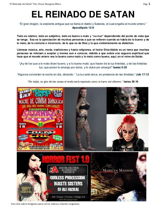 """""""El Reinado de Satán"""" Por: Oscar Murguía Alfaro Pag. 1 Haz click sobre imágenes para correr videos y fuentes originales. E..."""