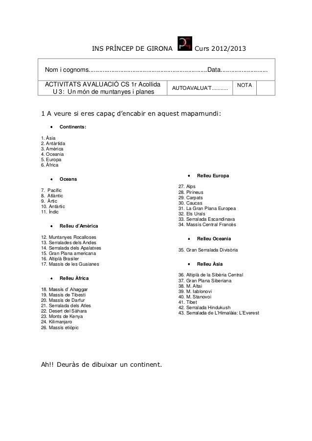 INS PRÍNCEP DE GIRONA                             Curs 2012/2013  Nom i cognoms..............................................