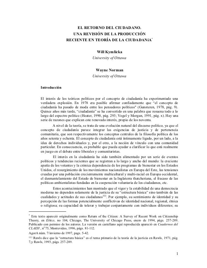EL RETORNO DEL CIUDADANO.                               UNA REVISIÓN DE LA PRODUCCIÓN                            RECIENTE ...