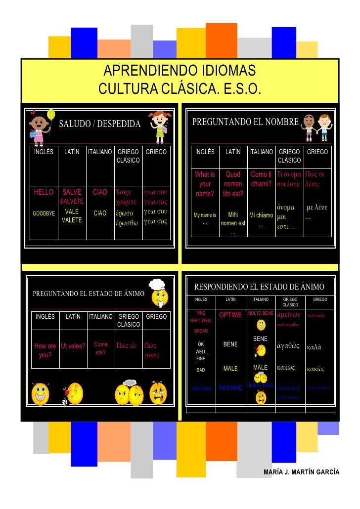 APRENDIENDO IDIOMAS                       CULTURA CLÁSICA. E.S.O.           SALUDO / DESPEDIDA                        PREG...