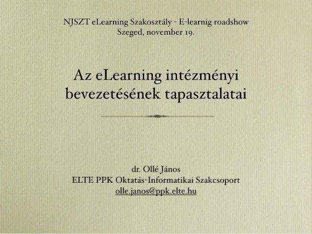Az eLearning intézményi bevezetésének tapasztalatai