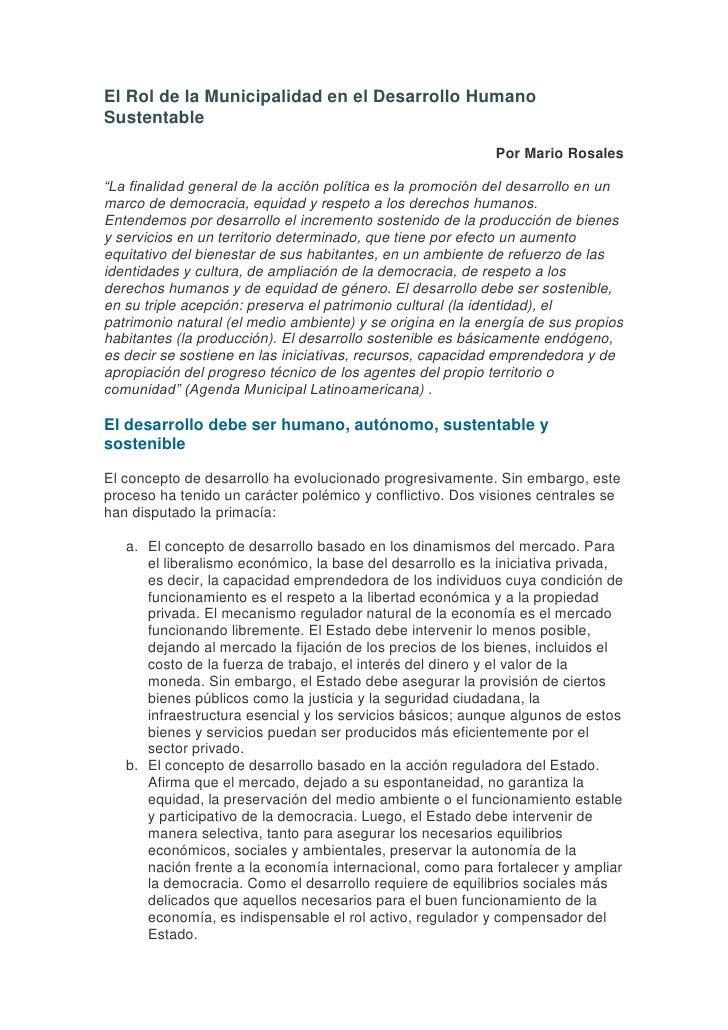 """El Rol de la Municipalidad en el Desarrollo Humano Sustentable <br />Por Mario Rosales <br />""""La finalidad general de la a..."""