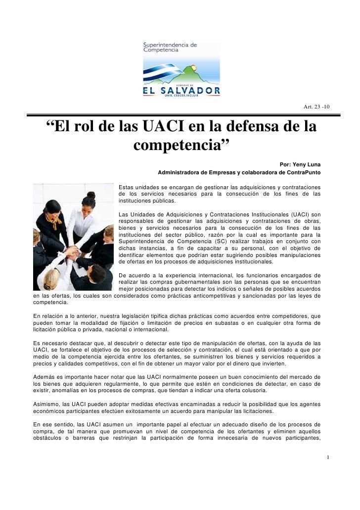 """Art. 23 -10       """"El rol de las UACI en la defensa de la                  competencia""""                                   ..."""