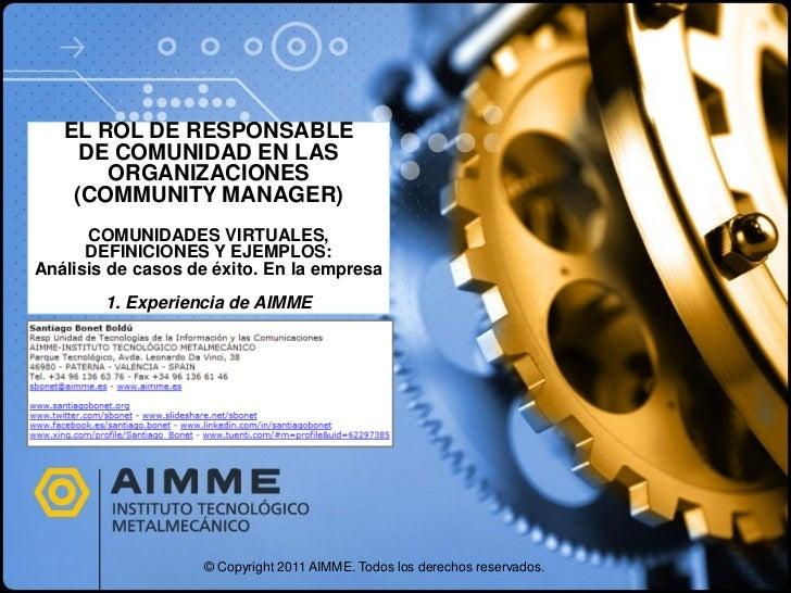 EL ROL DE RESPONSABLE     DE COMUNIDAD EN LAS       ORGANIZACIONES    (COMMUNITY MANAGER)      COMUNIDADES VIRTUALES,     ...