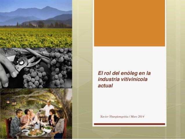 El rol del enòleg en la industria vitivinícola actual Xavier Ybargüengoitia / Mars 2014