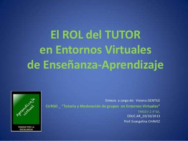 """El ROL del TUTOR en Entornos Virtuales de Enseñanza-Aprendizaje Síntesis a cargo de: Viviana GENTILE  CURSO _ """"Tutoría y M..."""