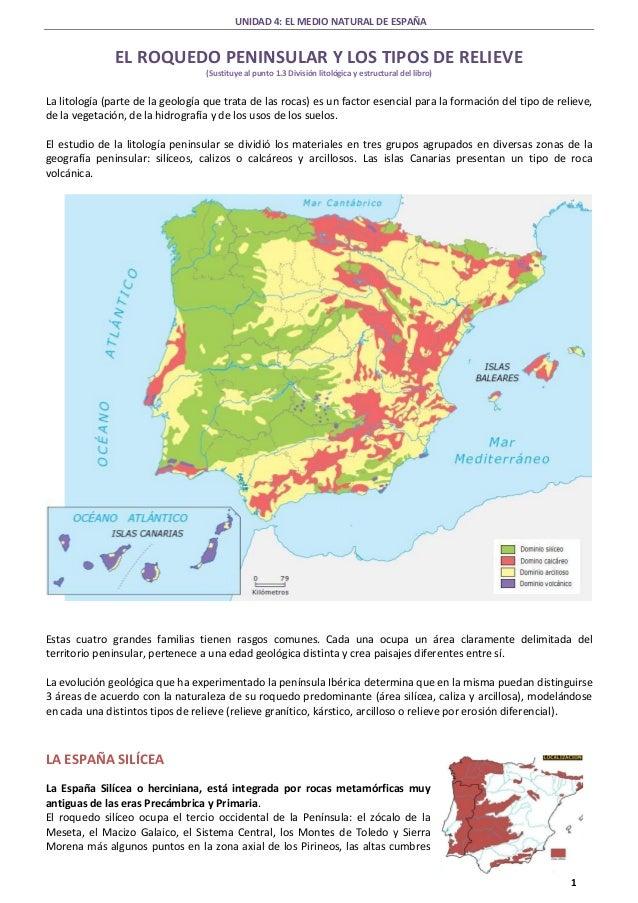 UNIDAD 4: EL MEDIO NATURAL DE ESPAÑA 1 EL ROQUEDO PENINSULAR Y LOS TIPOS DE RELIEVE (Sustituye al punto 1.3 División litol...