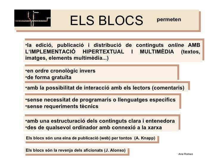 ELS BLOCS <ul><li>la edició, publicació i distribució de continguts  online  AMB L'IMPLEMENTACIÓ HIPERTEXTUAL I MULTIMÈDIA...