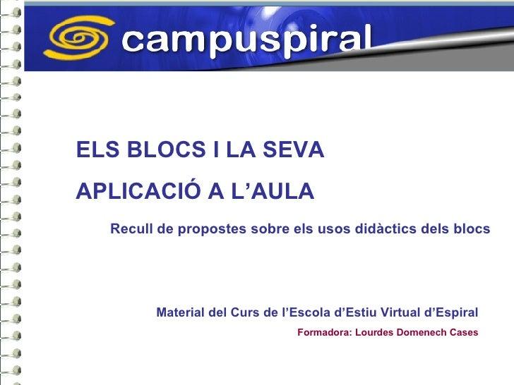 ELS BLOCS I LA SEVA  APLICACIÓ A L'AULA Recull de propostes sobre els usos didàctics dels blocs Material del Curs de l'Esc...