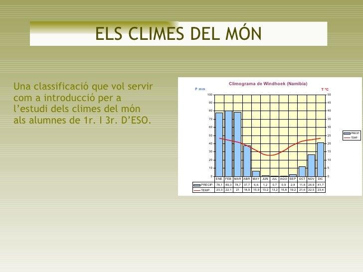 ELS CLIMES DEL MÓN Una classificació que vol servir com a introducció per a l'estudi dels climes del món als alumnes de 1r...