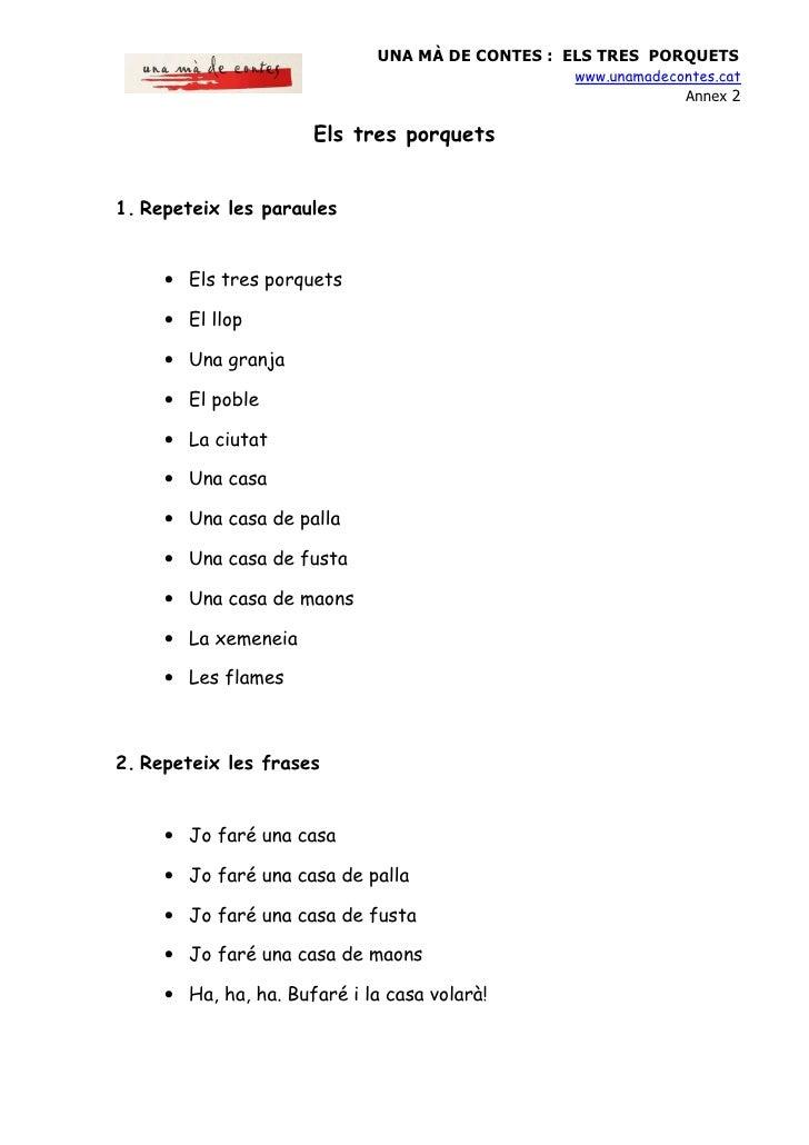 UNA MÀ DE CONTES : ELS TRES PORQUETS                                                   www.unamadecontes.cat              ...
