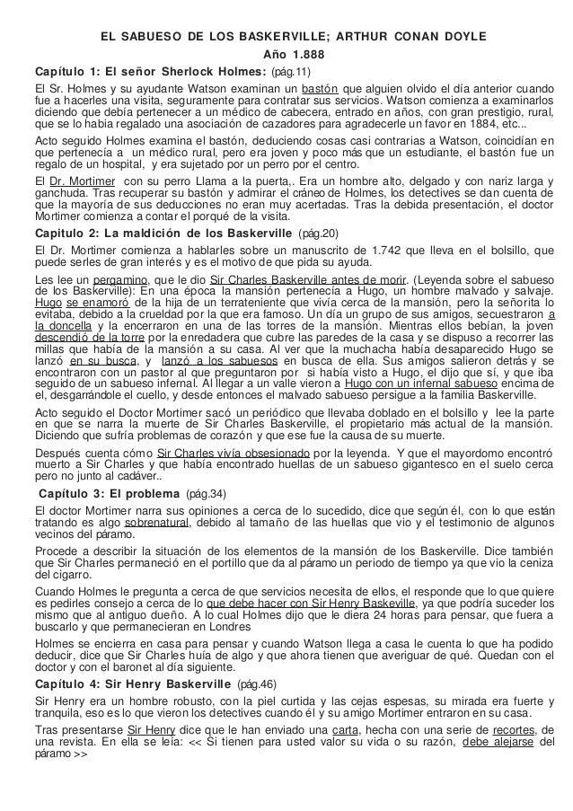 EL SABUESO DE LOS BASKERVILLE; ARTHUR CONAN DOYLE                                              Año 1.888Capítulo 1: El señ...