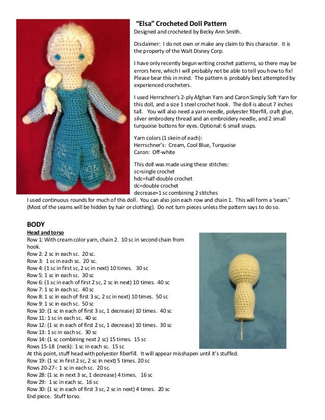 Frozen Elsa Crocheted Doll Pattern