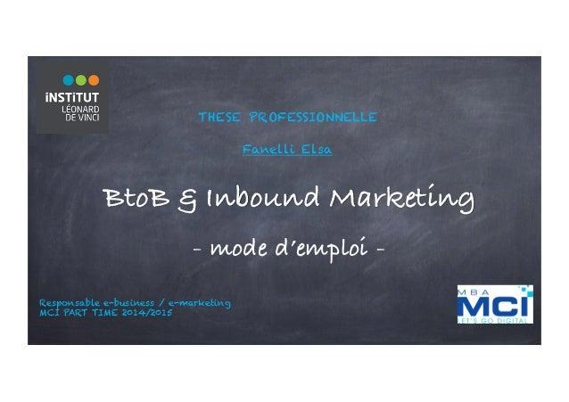 THESE PROFESSIONNELLE Fanelli Elsa BtoB & Inbound Marketing - mode d'emploi - Responsable e-business / e-marketing MCI PAR...