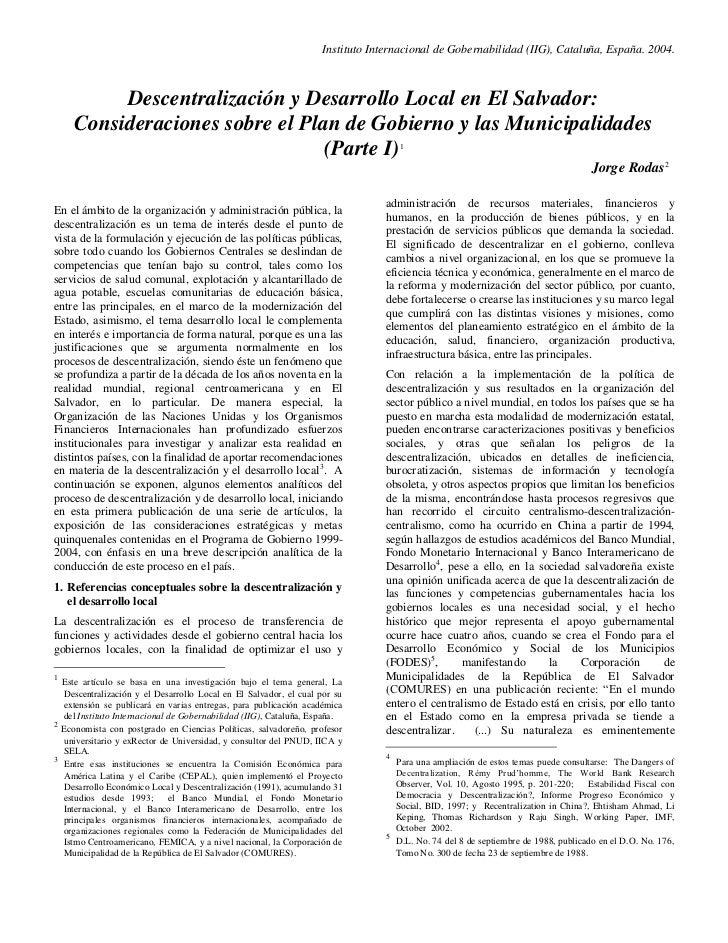 Instituto Internacional de Gobernabilidad (IIG), Cataluña, España. 2004.         Descentralización y Desarrollo Local en E...