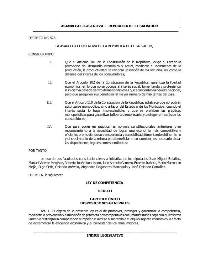 ASAMBLEA LEGISLATIVA - REPUBLICA DE EL SALVADOR  ____________________________________________________________________  1  ...